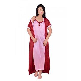 Kanika Women Satin Nighty With Robe-Red  Pink