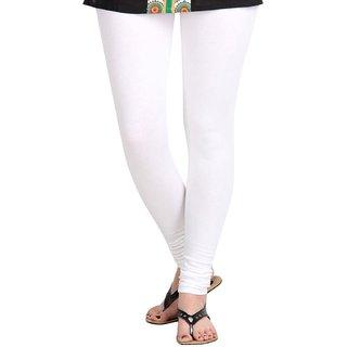 Women's Cotton Lycra Churidar  White Leggings