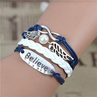Blue Angel Wings Believe Charm Bracelet