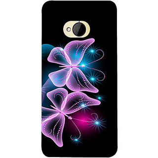 Casotec Butterflies Neon Light Design 3D Printed Hard Back Case Cover for HTC One M7