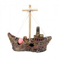 Aquarium Ship Toy With Air Bubble Stone