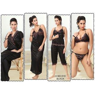 Womens Nightwear 6pc Bra Panty Top Capri Nighty Overcoat 618 black Sleep Set Bedroom Dress Fun Daily Lounge
