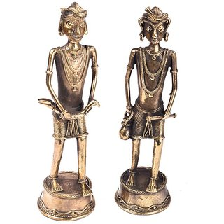 Standing Tribal Pair Bastar Tribal Decorative Handcrafted Dhokra Casting
