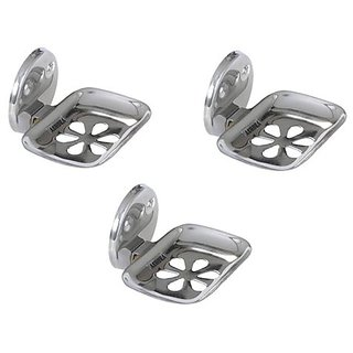 Device In Lion Stainless Steel Flower Soap Dish Holder Set of 3