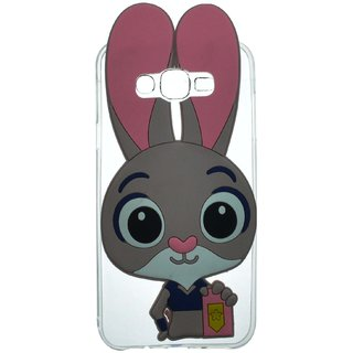 Style Imagine 3D Cute Rabbit Cartoon Back Cover for Samsung Galaxy J5 - Pink