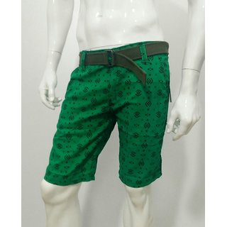 Printed Men's Half Pant Shorts Knicker Cotton Branded w/ Belt- Green