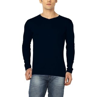 Joke Tees Solid Men's Perfect Vee Long T-Shirt(Navy Blue)