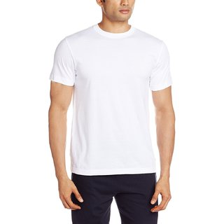 Men's Round Neck Cotton T-Shirt  (White)