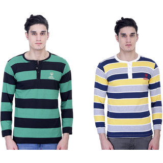 John Caballo Men's Round Neck Full Sleeve T-Shirt Combo Pack of 2-Multicolor