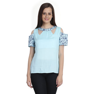 49ec74b1ac9c37 Buy INSPIRE WORLD Women s Top With Off Shoulder Sleeves And Cutout Neck In  Mint Blue Color Rayon And Cotton Lycra Print (IWT0282016S) Online - Get 40%  Off