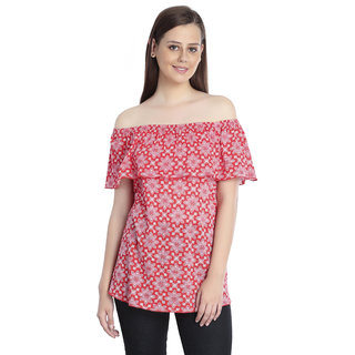 176b8998c719f8 Buy INSPIRE WORLD Women s 100 Cotton Slub Jersey Off Shoulder Top In  Dashing Bright Red (IWT0412016S) Online - Get 50% Off