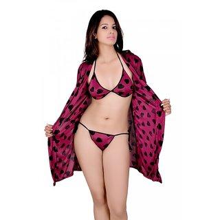 Kanika Women Satin Nighty With Robe-Purple  Black