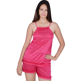 Kanika Women Satin Top  Short-Pink