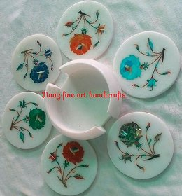 Marble inlay coaster set