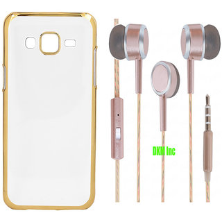 Golden Chrome TPU Soft Back Cover and Scented Rose Gold Earphones with Mic for Samsung Galaxy J1 Ace