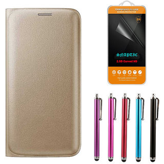 Snaptic Golden Leather Flip Cover for Lenovo K5 Plus with 25D HD Tempered Glass and Stylus Pen