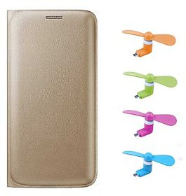 Snaptic Limited Edition Golden Leather Flip Cover for Lenovo A1000 with OTG Mobile Fan