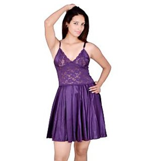 Kanika Women Satin Babydoll-Purple