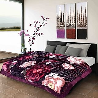 Titos Purple Embossed Polyester Double Bed Quilt