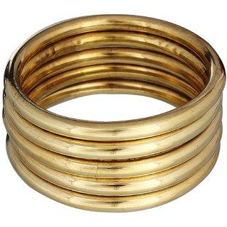 Smooth shiny plain brass bangles set of 5