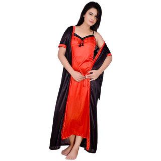 Kanika Women Satin Nighty With Robe-Red  Black