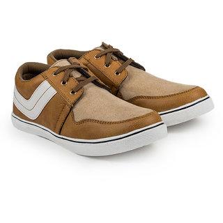 Golden Sparrow Men's Tan Lace-up Casual Shoes