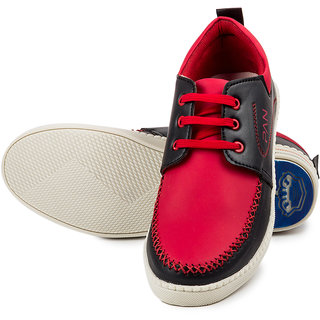 Golden Sparrow Men's Red Lace-up Casual Shoes