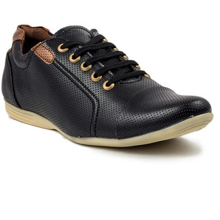 Golden Sparrow Men's Black Lace-up Casual Shoes