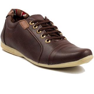 Golden Sparrow Men's Brown Lace-up Casual Shoes