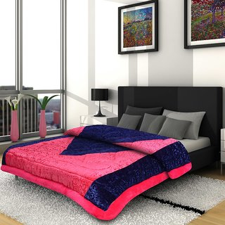 Titos Pink Polyester Double Bed Quilt