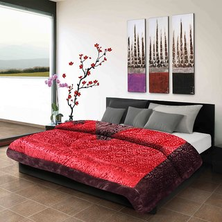 Titos Rust Embossed Double Bed Quilt