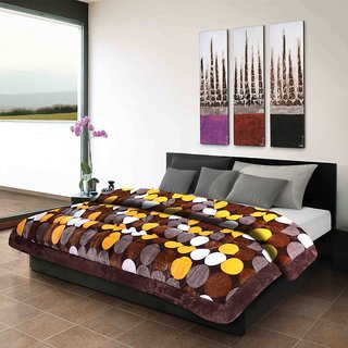 Titos Yellow Brown Balls Printed Polyester Quilt