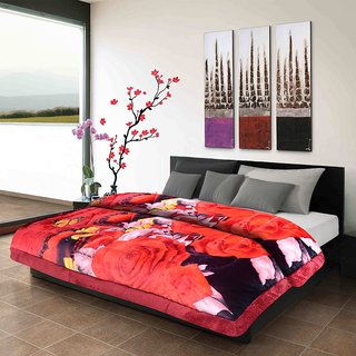 Titos Red Rose Print Double Bed Quilt