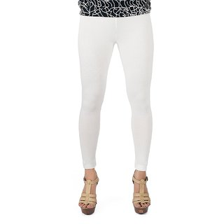Fashion Women's White Ankle Length Leggings in XL, XXL  XXXL