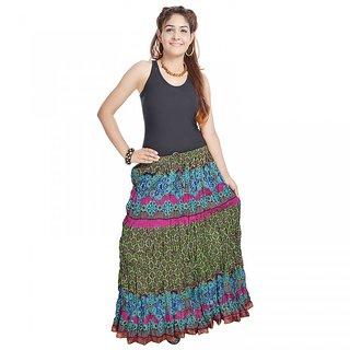 Jaipuri Multi Color Pure Cotton Skirt