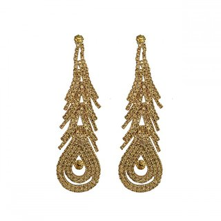 Peacock Feather Themed Golden Crystal Metal Danglers  Drop Earings For Girls and Women