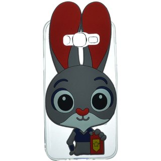 Style Imagine 3D Cute Rabbit Cartoon Back Cover for Samsung Galaxy J7 - Red