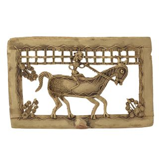 Unique Bastar Art Square Man on Horse Frame Handicraft by Bharat Haat BH05678