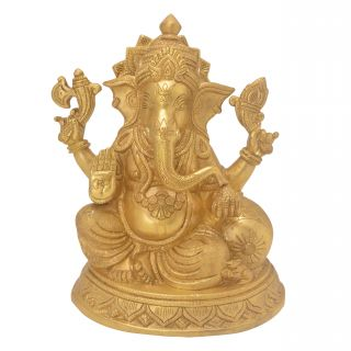 Elegant & Beautiful Sitting Ganesha with Pillow Handicraft Solid Metal Brass by Bharat Haat BH05701