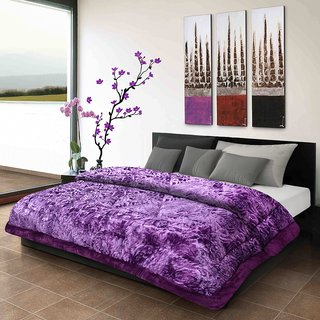 Titos Purple Embossed Double Bed Quilt