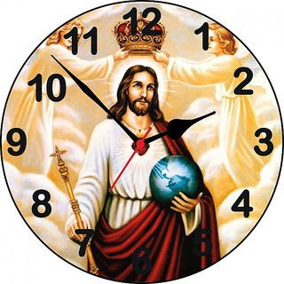 3D jesus with crown wall clock