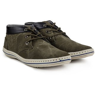 Golden Sparrow Mens Dark Green Lace-up Casual Shoes
