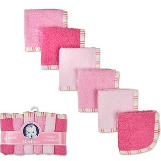 Gerber 6 Pack Woven Washcloths 100% Cotton 9 X 9 Girl Colors- Colors May Vary