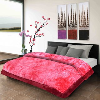 Titos Crimson Embossed double Bed Quilt