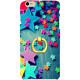 Casotec Colorful Stars Design 3D Printed Hard Back Case Cover with Metal Ring Kickstand for Apple iPhone 6 Plus / 6S Plus