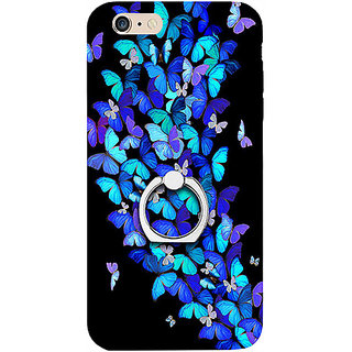 Casotec Butterfly pattern Design 3D Printed Hard Back Case Cover with Metal Ring Kickstand for Apple iPhone 6 Plus / 6S Plus