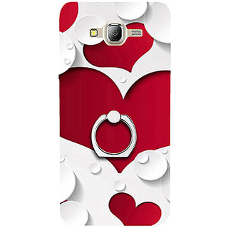 Casotec Multiple Hearts Design 3D Printed Hard Back Case Cover with Metal Ring Kickstand for Samsung Galaxy J2 (2016)