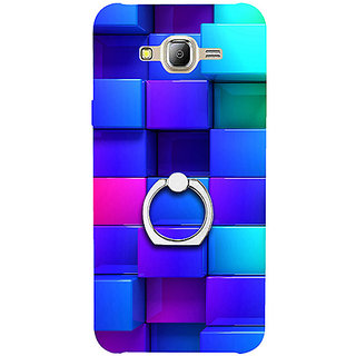 Casotec Blocks Rainbow 3D Graphics Design 3D Printed Hard Back Case Cover with Metal Ring Kickstand for Samsung Galaxy J2 (2016)