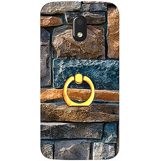 Casotec Decorative Stone Cladding Design 3D Printed Hard Back Case Cover with Metal Ring Kickstand for Motorola Moto E 3rd Generation