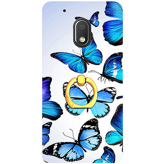 Casotec Flying Butterfly Colorful Design 3D Printed Hard Back Case Cover with Metal Ring Kickstand for Motorola Moto G4 Play